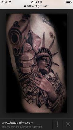 Grey Ink statue Of Liberty With Gun Tattoo On Side Rib : Tattoos Tattoos On Side Ribs, Forearm Sleeve Tattoos, Forearm Tattoo Design, Arm Tattoos For Guys, Gangster Tattoos, Badass Tattoos, Chicano Tattoos Gangsters, Patriotische Tattoos, Tattoos Arm Mann