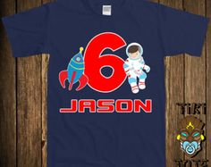 Funny Astronaut Space 6th Sixth Birthday Six Year Old T-shirt Personalized Any Name Or Age Custom Tee Shirt Gift Bodysuit Toddler Clothes