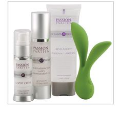 Get the party started. Features Leaf Vitality, Pure Satisfaction, Revelation and FREE G-Spot Creme, packaged in a reusable gift bag.  PassionPartieswithKatie.com
