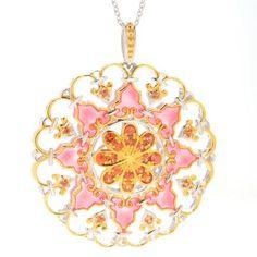 """Gems en Vogue Italy 1.92ctw Orange Sapphire Medallion Pendant w/ 18"""" Cable Chain"""