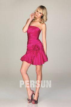 achat mini robe rose fuchsia sans bretelle