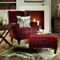 Shetland Claret Chair - The Shetland Chair is the ultimate in cosy comfort and classic old world charm. The well proportioned chair features rounded arms and supportive wings upon which to rest your head. Cottage Living Rooms, Living Room Decor, Plaid Decor, Home And Deco, Cozy House, Country Decor, Furniture Decor, Interior Decorating, House Styles