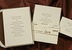 Love, honor, cherish and such are featured in gold foil and mocha ink on the front of this eye-catching wrap. This simple ecru card with a mocha border is striking inside the wrap.