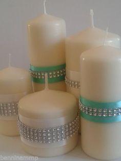 set 5 candele decorate nastro e striscia effetto swarovsky confettata MATRIMONIO | eBay