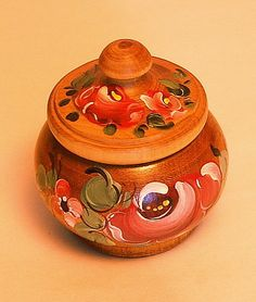 Hand painted wooden trinket box with lid