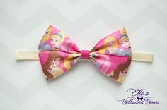 Handmade Disney Princess Pink Boutique Bow Alligator Clip and Elastic Set by EllesBellsandBows on Etsy