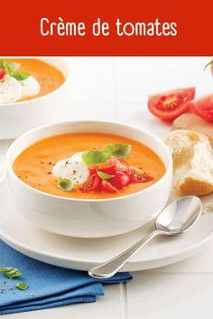 Vous allez craquer pour cette crème de tomates facile à faire! Accompagnez-la d'un grilled cheese pour un dîner rapido presto! Thai Red Curry, Ethnic Recipes, Food, Cream Soups, Cherry Tomatoes, Greedy People, Essen, Meals, Yemek
