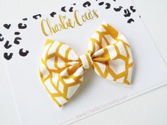 Baby/Girls Fabric Bow Hair ClipGold/Mustard and by CharlieCocos