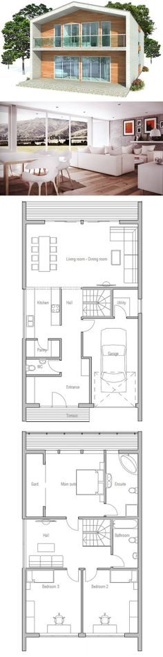 Contemporary House Design to narrow lot. Floor Plan from ConceptHome.com