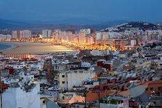 Morocco, Tangier Tetouan Region, Tangier, Medina and Beach seen from the Kasbah