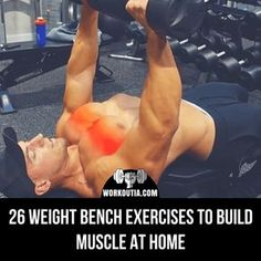 Learn many weight bench exercises that you can do at home to build strength and muscle. You will find moves with dumbbells and also bodyweight workouts. #homeworkout #weightbench