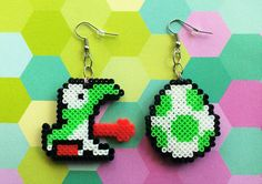 Yoshi and Egg 8-bit pixel bead earrings made from mini Hama (Perler) beads by: 8BitEarrings on Etsy.com