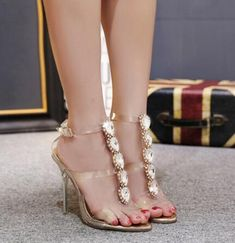948a99f8eebe TINGHON Summer Sexy High Heels Luxury Rhinestone PVC Transparent Pumps  Women Sandals fashion Buckle Crystal with Woman Shoes