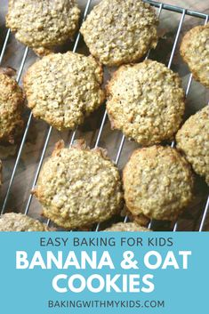 A really easy recipe for banana and oat cookies. A great fun bake for kids and good way of using up leftover bananas. #banana #cookies #biscuits #oat #recipe #easy #kids baking #baking with toddlers #baking with preschoolers #preschool activity #recipe easy