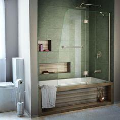 DreamLine Aqua 48 in. x 58 in. Semi-Framed Pivot Tub/Shower Door in Brushed Nickel