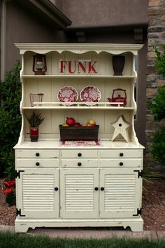 hutch make-over  -  I have a weakness for cabinets and hutches with louvered doors! I would love to find a hutch like this one!