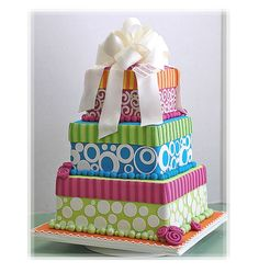 Amazing Dotted And Striped Colorful Birthday Cake