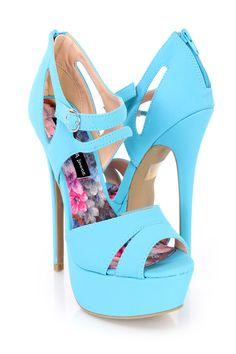 Turquoise Peep Toe Platform 6 Inch High Heels Nubuck