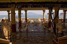 A view of Vesuvius across the Bay of Naples, taken from the doorway of the Villa Pompeiana, Sorrento, Italy.