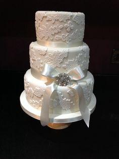 Ivory lace wedding cake