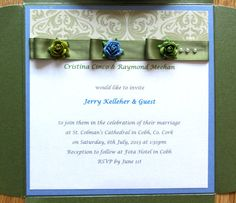 Simple blue green damask wedding invitations with pleated satin ribbon and roses and pearls. Damask Wedding, July 6th, Rsvp, Blue Green, Wedding Invitations, Reception, Marriage, Ribbon, Satin