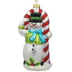 """5.25"""" Snowman with the Mint Candy Cane Glass Christmas Ornament  #bestpysanky"""