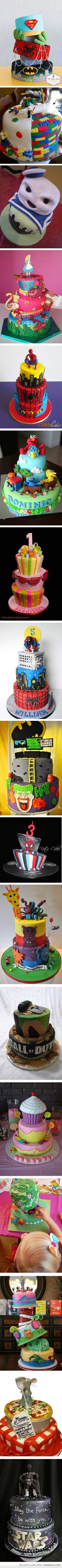 Love the batman, spider man, hulk finger and superman cake...need to replicate.