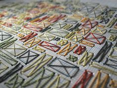 Peter Crawley –more (geometric stitch) images @ http://www.juxtapoz.com/Illustration/peter-crawley –UK, Illustration, Peter Crawley, handmade, stitching