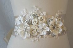 Champagne Bridal Sash, Ivory Wedding Belt, Rhinestone and Pearl Flower Sash with Lace - CHERI