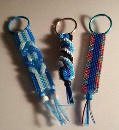 My boondoogle, scoubidou, craft lace key chains -set #1 By Cecelia Muse Lanyard Crafts, Bracelet Crafts, Jewelry Crafts, Hobbies And Crafts, Diy And Crafts, Crafts For Kids, Arts And Crafts, Plastic Lace Crafts, Plastic Craft