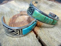 Get your Southwest Turquoise and Sterling Silver Feather Design Cuff Bracelets @ www.silvertribe.com