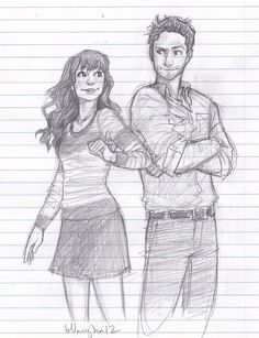 a pair of idiots: me and my best friend Christian in a drawing by someone else XD