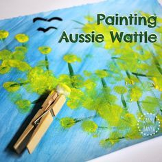 Painting with Pom Poms {Aussie Art for Kids} Painting Aussie Wattle (with pom poms) art for kids!Painting Aussie Wattle (with pom poms) art for kids! Australia Crafts, Australia Day, Food Art For Kids, Animal Crafts For Kids, Toddler Art, Toddler Crafts, Drawing For Kids, Painting For Kids, Preschool Art Activities