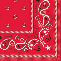 Our Bandana Print Luncheon Napkins feature a black and white paisley print with horseshoes on a red background.