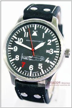 Messerschmitt 109-42 Red 7 black leather bracelet made by Aristo