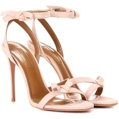 Aquazzura Passion 105 Suede Sandals (15 410 UAH) ❤ liked on Polyvore featuring shoes, sandals, pink, pink sandals, aquazzura, pink shoes, suede sandals and aquazzura sandals