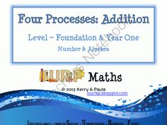 Four Processes - Addition from iSURF Maths on TeachersNotebook.com -  (46 pages)  - Australian Curriculum Addition Foundation Year One