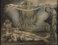 William Blake 'The House of Death', 1795–c. 1805  This print illustrates lines from Book XI of Milton's poem Paradise Lost. The Archangel Michael shows Adam the misery that will be inflicted on Man now he has eaten the Forbidden Fruit. In a vision of 'Death's 'grim Cave' Adam sees a 'monstrous crew' of men afflicted by 'Diseases dire'.