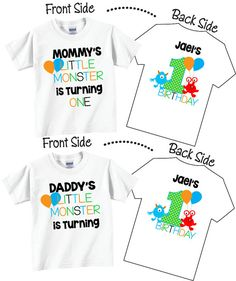 44e1ea60 2 shirt set Birthday Shirts for Mom and Dad Family Birthday Set with Little  Monster