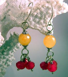 Artisan Earrings  Cranberries and Oranges on German by PaganPieces, $16.98