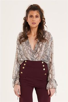 Print Surplice Bodysuit BROWN. Suit up in this  snakeskin bodysuit.  Discovery Clothing 3883a36fa940