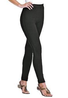 15d93a3cc9d96 Woman Within Plus Size Lace Trim Stretch Leggings Woman Within. $19.99  Petite Leggings, Plus