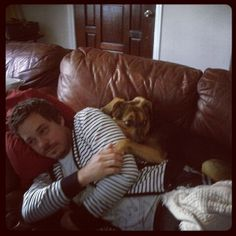Michael Raymond James and a most human like doggie.