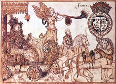 Queen Elizabeth riding the chariot of Fame.  Sir William Teshe, 1570. BL Sloane MS 1832.