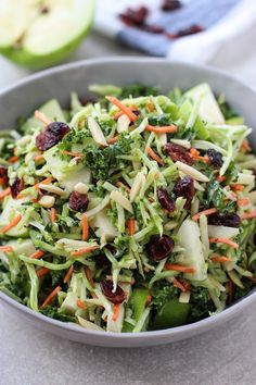Salad Broccoli, Kale, Apple and Cranberry Slaw - The perfect light and healthy veggie side to your Thanksgiving or Christmas holiday meal, or dinner any day! No cook and super easy, this slaw has a festive twist and is full of great flavors and textures! Healthy Salad Recipes, Vegetarian Recipes, Cooking Recipes, Recipes With Kale, Vegetable Salad Recipes, Simply Recipes, Cooking Games, Dip Recipes, Cooking Classes