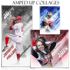 "Athletes will love our new line of sports collage templates. Use this ""Amped Effects - Blade Runner"" Photoshop template set to design custom collages for almost any sport. See our football, baseball and cheerleading examples for ideas. This set includes templates in the following print sizes: 5x7, 10x20 and 12x12."