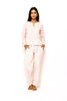 Mirabella Pajamas are constructed from super soft cotton voile hand block printed with azo-free dyes. Cut for a relaxed fit and fully lined with cotton, they feature two side. Luxury Clothing Brands, Pajama Bottoms, Pajama Pants, Cotton Pyjamas, Plus Size Lingerie, Winter Looks, Wide Leg Pants, Pajama Set, Women Lingerie