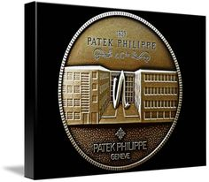 "Patek Philippe Geneve Commemorative Medal Coin (Front) $99 // Style: Soft Edge Canvas Print; Size: Medium 16"" x 21"" // Visit http://www.imagekind.com/Patek-Philippe-Geneve-PPG_art?IMID=5cad76ca-2632-4430-9e1b-71f73e27c714 for product details."