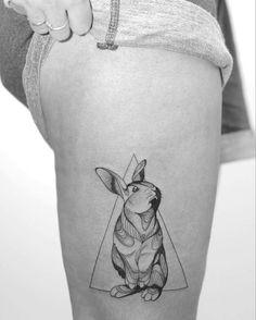 Black and Grey Rabbit Tattoo by Minnie
