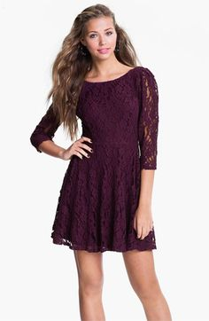Fire Lace Skater Dress (Juniors) available at #Nordstrom-Navy Blue for Christmas party?